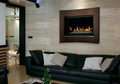 Napoleon Crystallo BGD36CFG Fireplace with Concave Dark Brown Surround