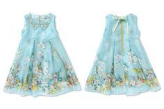Mi Mi Sol Spring Summer 2014, blue organza silk dress. #flowers #mimisol #springsummer2014 #SS14 #children #kids #childrenwear #kidswear #girls