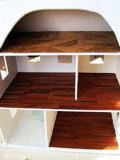 how to: dollhouse flooring from (free at the DIY home store) vinyl tile samples