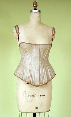 Boned Beige Cotton Corset & Busk, 1845-1870