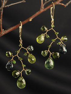 Watermelon Tourmaline Brach Earrings on 18kt Gold| Fine Jewlery Designs