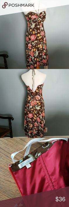 """Beautiful! ❤ Silk Shoshanna floral halter dress This silk floral dress is so lovely! Flowers and branches of pinks, coral, red yellow, light blue and green on a brown background.   Zipper back, tie halter top, top has boning sewn in.  Back does zip up more, but my size 6 form is too large for this dress.  Bust across measures 14"""", length in the front is 30"""", and about 9"""" longer in the back.  In excellent used condition! Shoshanna Dresses High Low"""