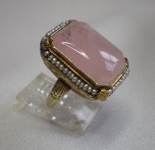 Art Deco Ring; Rose Quartz With Seed Pearls Set In 14K Yellow Gold at rubylane.com