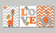 Elephant Nursery Giraffe Nursery Baby Nursery Decor Baby Boy Nursery Kids wall art Kids Art Nursery Print set of 8x10 birds gray orange on Etsy, $42.00