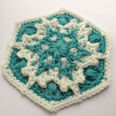 Free pattern called Blizzard Warning! Crochet snowflake hexagon by Polly Plum