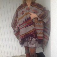 Fleece Poncho , Giving a Hot Touch to Cool Winds Fleece Poncho, Knitted Poncho, Plaid Scarf, Aztec, Cool Stuff, Stylish, Winter Coats, Limo, Sweaters