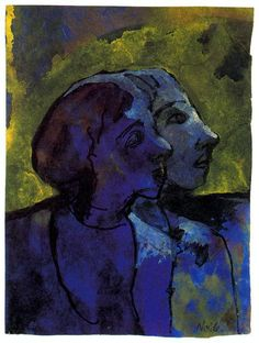 Blue Couple (in Profile) in Sidelight