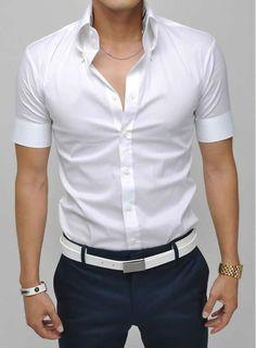 camisa para hombre de slim fit casual de corea del estilo de vestir de algodón tops manga corta de ocio masculino
