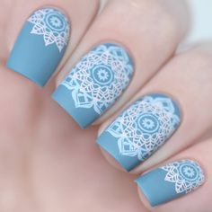 square | acrylic | nail art design | 2017 | blue | tribe pattern