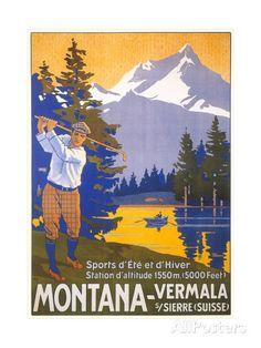 Golfing in Swiss Alps Art at AllPosters.com