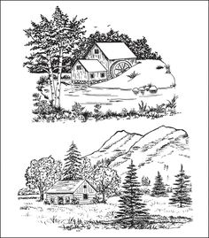 Heartfelt Creations Cling Rubber Stamp Set Scenic Combo - deal and steals vegetarian recipes Wood Burning Patterns, Wood Burning Art, Heartfelt Creations, Illustration Noel, Tole Painting, Coloring Book Pages, Painting Patterns, Digital Stamps, Line Art
