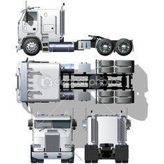 Semi-camión Hola detallada Vector — Vector de stock #4993559