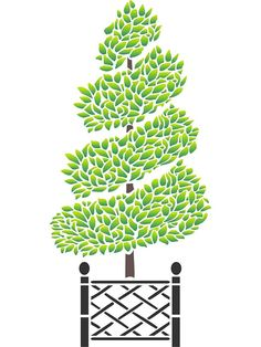 Spiral Topiary Stencil - (size x Reusable Wall Stencils for Painting - Best Quality Wall Art Décor.
