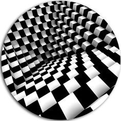 DesignArt 'Optical Black and White Pattern' Graphic Art Print on Metal Size: Illusion Drawings, Illusion Art, Obstacle Illusions, Deco Stickers, Cool Optical Illusions, Music Drawings, Poster Design, Damier, Geometric Art