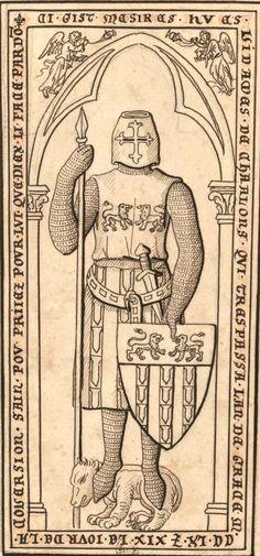 """Hughes III de Basoches, vidame de Châlons (†1269) (Gaignières 4105) -- Dessin d'une pierre tombale à l'église de Toussains à Châlons, Fonds Gaignières [BNF Est. Réserve Pe-6-Fol.] -- «Ci gist mesires Hues Vidames de Chaalons qui trespassa lan de grace M.CC.LX.(?) XIX le jour de la coversion Sain Pou. Priiez pour lui. Que Diex li face pardo(n)"""""""