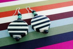 Black and white striped earrings with color by Nonatrinkets, $15.00