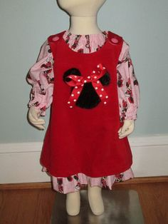 Awesome Etsy listing at https://www.etsy.com/listing/172442417/red-corduroy-jumper-w-minnie-mouse