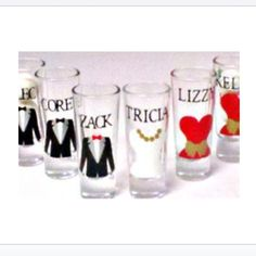 Choose your own wedding colors for these fab wedding party shot glasses. Each person gets their own special shot glass with their name & tuxedo or gown. Available in sets of Fun wedding keepsak . Daisy Wedding, Our Wedding Day, Dream Wedding, Wedding Stuff, Bachelorette Party Favors, Wedding Party Favors, Wedding Day Inspiration, Wedding Ideas, Never Getting Married