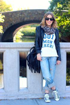 Oui Mon Cheri J.Crew Sweatshirt + Boyfriend Jeans