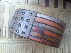 Rustic AMERICAN FLAG Leather Cuff Bracelet Primitive by dgierat, $36.00