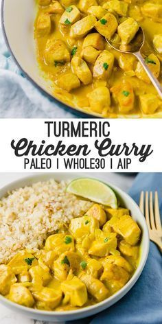 This turmeric chicken curry is flavorful filling and packed with anti-inflammatory ingredients! It's paleo and AIP compliant. This turmeric chicken curry is flavorful filling and packed with anti-inflammatory ingredients! It's paleo and AIP compliant. Paleo Menu, Paleo Dinner, Paleo Food, Dinner Healthy, Breakfast Healthy, Breakfast Muffins, Breakfast Smoothies, Breakfast Casserole, Breakfast Ideas