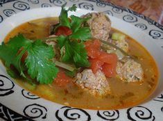 My husband and I love this soup. Albondigas is meatballs made with rice in a flavorful Mexican broth.