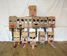 DIY niños - Señores caja - reciclando en la escuela - Dibujar ojos, nariz, bocas, orejas ocupando cartoneta de cereales, pizza ...pintarlos. Luego niños de 3-5 años pueden armar su señor caja añadiendo bigotes, cejas ... muy lindo resultado y super entretenido para los más chicos