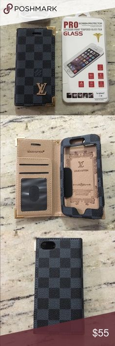 Iphone 7 Inspired Luxury Wallet Case Included:- 1:-Tempered Glass Screen Protector 1:-Usb charging Cable 1:-Inspired Wallet Case  Available Colors : ( Black,Tan). Accessories Phone Cases