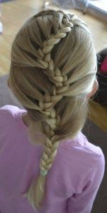 french lace braid zig zaging down the middle