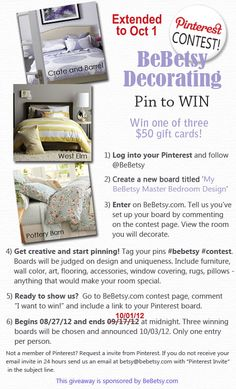 Pinterest Contest at BeBetsy! #contest #bebetsy #win #giveaway $50