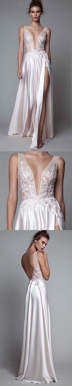 Sexy prom dress, light pink prom dress, deep v neck prom dress, lace prom dress, side split prom dress, evening dress, PD15012 #prom #promdress #dress #evening #eveningdress