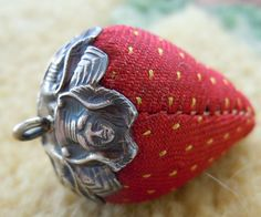 """""""Art Nouveau Sterling Silver Strawberry Sewing Pin Cushion Emery Antique -- From 1900-1909"""" -- Item has sold on Etsy, but it was too cute not to pin..."""