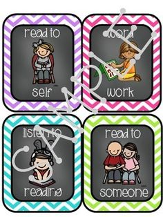 Editable Daily 5/Literacy Center Choice Cards with  Chalkboard  and White Middles in mini cards( 4 per page) and Full Page Posters
