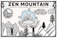Hand Drawn Zen Mountain Clip Art by Carrie Stephens Art on @creativemarket