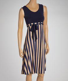 This Navy & Beige Stripe Sleeveless Dress by GLAM is perfect! #zulilyfinds
