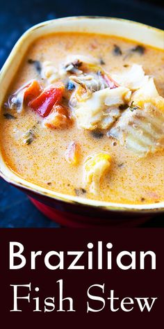Moqueca – Brazilian Fish Stew ~ Brazilian moqueca, a fish stew made with firm white fish, onions, ga Fish Dishes, Seafood Dishes, Seafood Recipes, Soup Recipes, Cooking Recipes, Cooking Bacon, Cooking Games, Fish Crockpot Recipes, Seafood Appetizers