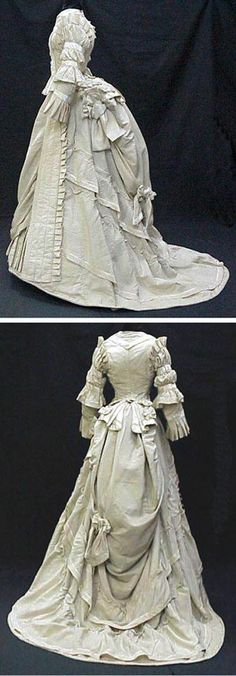 FB Details and trim work all over this dress.Day after wedding dress, ca. 1875. Wool and silk. La Dame de Tours.