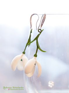 Earrings 'Snowdrops' - Polymer Clay Flowers by CraftFlowers on DeviantArt