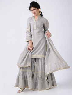 Purchase Gray Gota Cotton Kurta with Sharara and Dupatta (Set of three) Girls Kurtas For … - Suit World Sharara Designs, Kurta Designs Women, Kurti Designs Party Wear, Blouse Designs, Dress Designs, Pakistani Dresses Casual, Pakistani Dress Design, Indian Dresses, Indian Outfits
