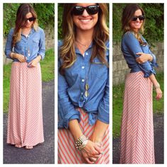 Chambray shirt tied with skirt