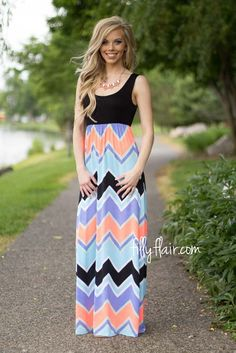 Lift Your Spirits Chevron Maxi in Black | The idea chevron print long dress for summer!
