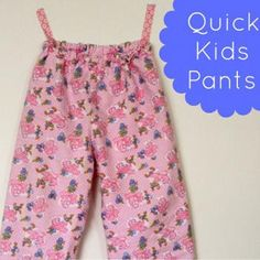Quick kids pants sewing pattern