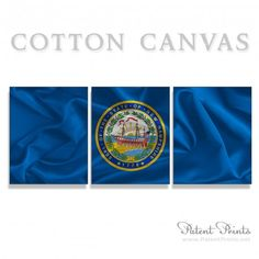 New Hampshire State Seal and Flag Canvas Print