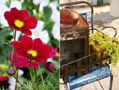 Garden Trend 2012 'Utility' -   Mix of Vintage & Modern Enamel Garden Decoration & Colorful Flowers