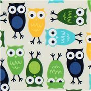 cute off-white owls fabric Robert Kaufman kawaii