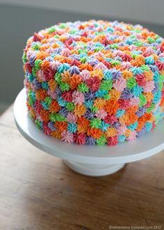 Puede que esta manera de decorar una tarta no sea la más rápida, pero es sin duda muy divertida y alegre, para llenar de colores cualquier fiesta infantil. Y si la tarta la haces con varias bases de diferentes colores, también quedará preciosa cuando se corte. Decora con frosting de diferentes colores y obtendrás este …