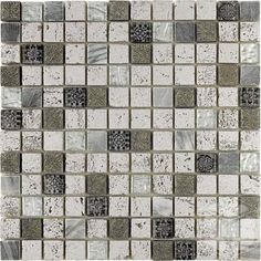 1x1 Imperium Silver Square Pattern Glass and Marble Mosaic Tile #square_pattern_mosaic_tile #glass_marble_tile