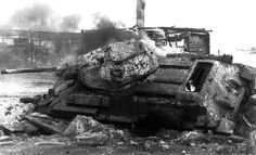 Burning T-34 near Moscow, Winter 1941