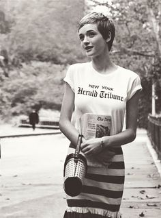 """You love Jean Seberg look…? check our """"Herald Tribune"""" T-Shirt, available on E… You love Jean Seberg look…? check our """"Herald Tribune"""" T-Shirt, available on Etsy store Pixie Hairstyles, Short Hairstyles For Women, Cool Hairstyles, Pixie Haircuts, Jean Seberg, Short Pixie, Short Hair Cuts, Pixie Cuts, Asymmetrical Pixie"""