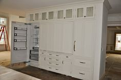 Folding Doors for Countertop Appliances with pantry storage everywhere else. How could it work turning the corner to the sink wall? Kitchen Cabinet Remodel, Kitchen Cabinetry, Kitchen Redo, Kitchen Flooring, Kitchen Storage, Pantry Storage, Kitchen Ideas, Modern Refrigerators, Floor To Ceiling Cabinets